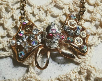 Steampunk Pink Gem Skull Bow Necklace