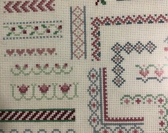 MAYniaSALE Leisure Arts, Border Collection, Vintage 1990, Leaflet 2021, counted cross stitch, pattern book