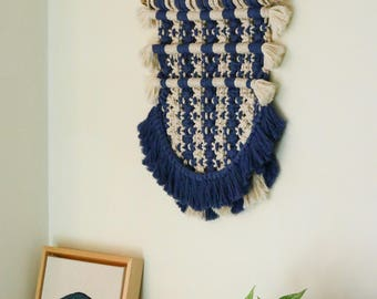 Nautical Stripes* Macrame wall hanging, Bohemian, Beach, Home, Decor, Navy and White, Modern Macrame, Wall Tapestry