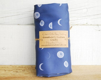 Organic Baby Bedding, Crib Sheet, Changing Pad Cover - Navy Moon Phase Silhouette, Galaxy Decor