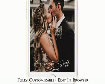 Names Wedding Snapchat Geofliter, Calligraphy Snapchat Filter, Just Married, Elegant snapchat, Editable Template, Instant Download, Minimal