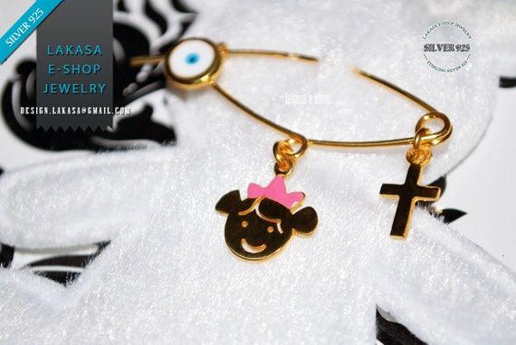 Best Price Enamel Baby Brooch Sterling Silver Gold plated Handmade Jewelry Cross Eye Religious Baptism HappyShowerDay Newborn Girl Princess
