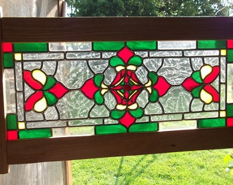 Traditional leaded stain glass panel.