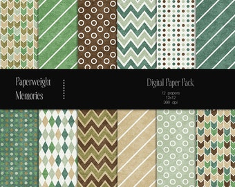 Grass & Earth - digital patterned paper - Instant Download -  digital scrapbooking - textured paper - Commercial use