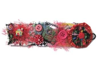 Fabric Cuff Bracelet- Wearable Art Textile Cuff -One of a Kind-Art Jewelry Cuff