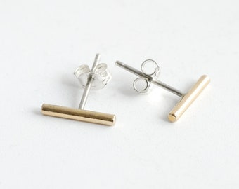 Minimal Large Brass Bar stud earrings with silver earrings post