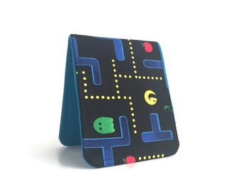 Oops Sale / Super Thin Billfold Wallet / Pac Man Turquoise Cotton / Vegan Wallet
