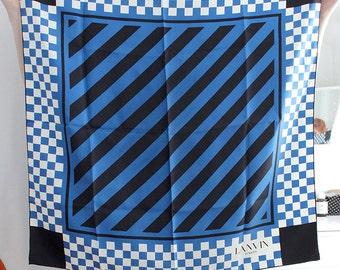 Vtg Jeanne LANVIN Paris 100% Silk Scarf Mid Century Mod Modernist 50s 60s 70s 80s Graphic Geometrical Soie Runway Designer Fashion