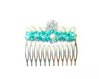 Teal Snowflake Large Hair Comb