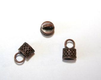 10 Pcs. end caps / copper tone / 9x15mm EK08