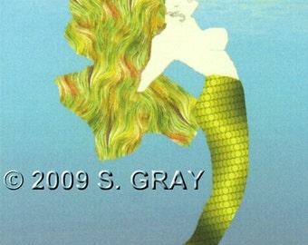 ACEO SFA Mermaid digital art print fantasy ocean green limited edition nitelvr
