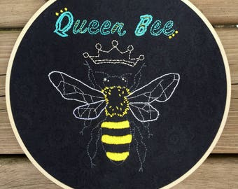 Queen Bee Embroidery Hoop Art