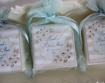 Shower Favors, Bridal Shower, Baby Shower, Tea Party,  Gray and Mint Soap Favors, set of 10