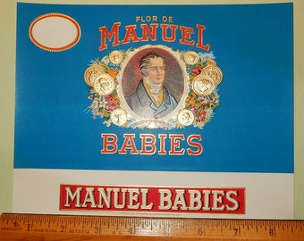 Vintage Cigar Box Label - Flor De Manual Babies.