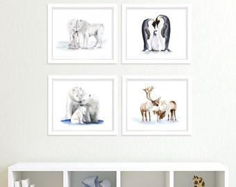 Animal Paintings, Arctic Nursery, Arctic Animal Prints, Polar Bears Penguins Wolves Caribou White