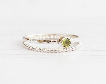 Peridot ring, Birthstone ring August, Gemstone dainty ring, Stackable ring, Sterling silver gemstone ring, birthday gift, UK Jewellery