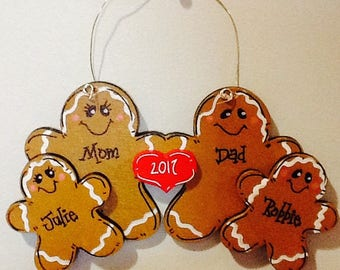 Family ornament 2017,  gingerbread family ornament, first christmas ornament, gingerbread ornament, wood ornament, gingerbread family