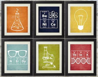Nerdy Science Art  -  set of 6- 8x10 Instant Download Printables with Erlenmeyer Flask, DNA, Elements for science themed bedroom or nursery