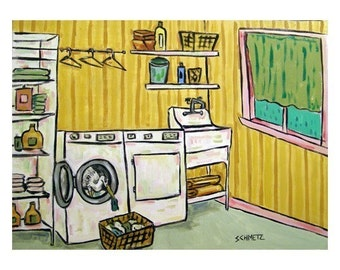 Egret Doing Laundry Art Print