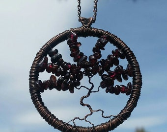 Oxidized Copper and Raw Garnet Tree of Life Pendant