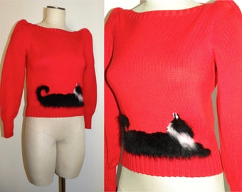Vintage 70s 80s Ruth Hornbein New York Knit Sweater / RED Kitty Cat Angora Tuxedo Cat / OOAK fits XS Small