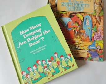 2 Vintage 70s/80s Childrens Books - How Many Dragons Are Behind the Door & The Hunt for Snufflegrunts Treasure Make Your Own Adventure Book