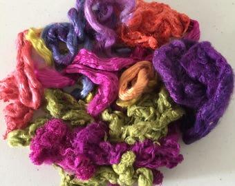 Silk Texture Pack, Silk Roving and Silk Hankie, Silk Top, Spinning Fiber, Silk for felting