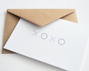 XOXO Greeting Card -- Note Card -- Thinking of You -- Thanks -- Love You --  Set of 3 cards & envelopes