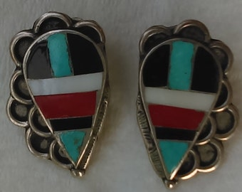 Vintage Zuni Old pawn crafted silver drop clip on earrings,  inlay multi stones