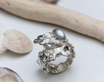 Sterling silver wave ring with aquamarines and moonstone, statement handmade ring, unique sea inspired jewelry, blue gemstone ring