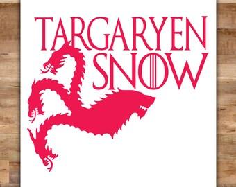 Targaryen Snow Game of Thrones Decal - Danaerys Targaryen Decal Jon Snow Sticker House Stark House Targaryen Decorations Banner Sigil