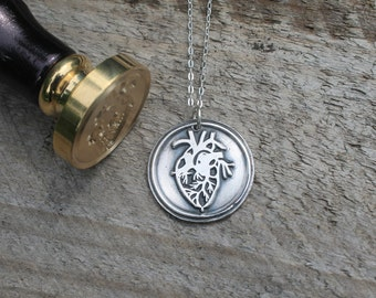 Anatomical heart wax seal fine silver pendant