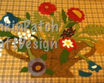 Floral urn folk art prim wool appliqué Kit