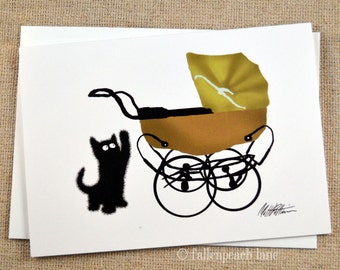 Black Cat and Baby Carriage Illustration Greeting Card - Sammy the Cat