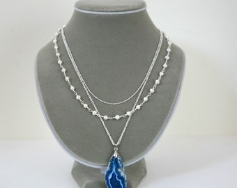 Three Strand Ocean Blue Geode Slab Pendant, Freshwater Pearl and Delicate Ball Chain Minimalist Understated Necklace