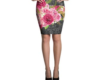 Modern Floral Print Roses Red Pencil Skirt