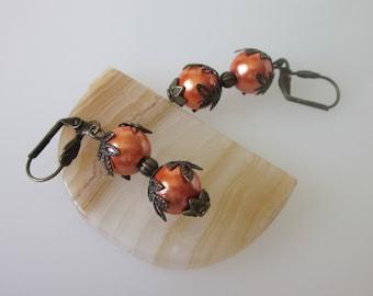 Magnetic Hematite Earrings, Bohemian Beaded, Stone Dangles, Orange Earrings, Fall Earrings, Fall Jewelry