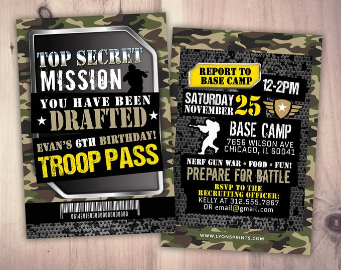 Army Invitation, nerf gun invitation, paintball invitation,Army Camo Birthday Invitation | Military Party Boot Camp,Camouflage Invite