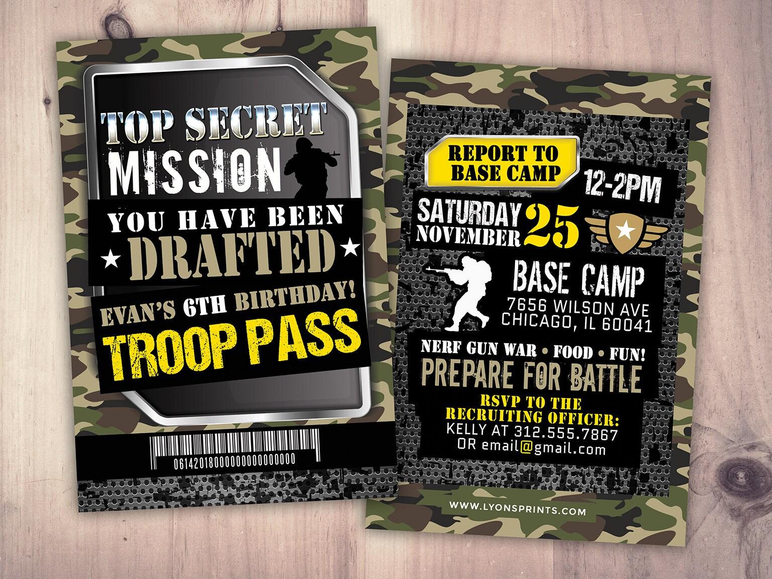 Army Invitation, nerf gun invitation, paintball invitation,Army Camo ...