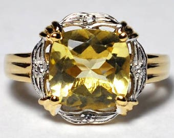 Womens Lemon Quartz Topaz Gemstone Solitaire Ring Yellow Gold 925 Sterling Silver 4.10 Carat