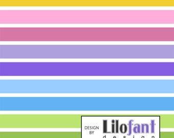 Rainbow Stripes, White - Lilofant Organic Cotton Lycra Jersey Knit Fabric