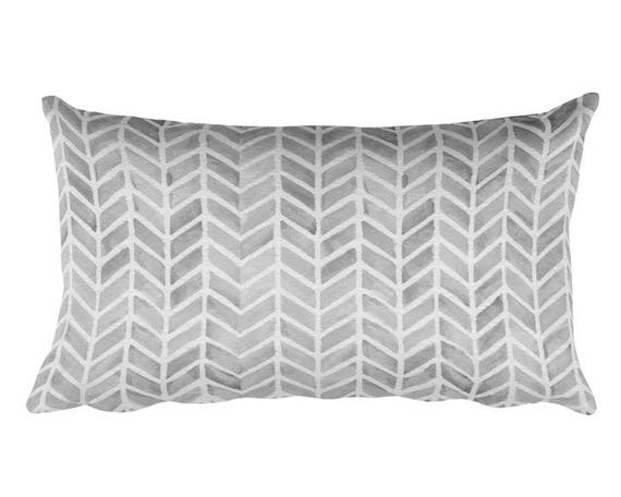 """Gray Accent Pillow with Arrow Pattern, 12""""x20"""""""