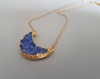 Blue Druzy Necklace, Druzy Moon Jewelry,  Gold and Blue Agate Necklace, Long Pendant Necklace, Moon Necklace, Mother's Day Gift  for her