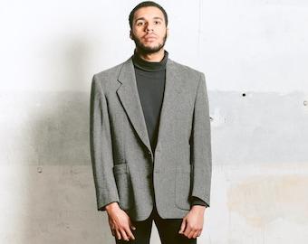 Men's Grey Tweed Jacket . Vintage 80s Wool Jacket Herringbone Tweed Blazer Preppy Sport Coat 1980s Smart Casual Outfit . size Large L