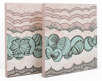 Teal and Pink Wall Art, Set of Two Small Canvas Paintings with Abstract Butterfly Wings - 21x10