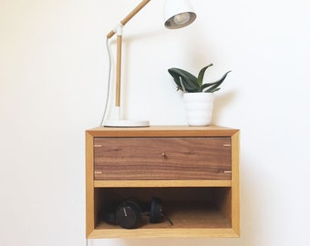 Floating Nightstand Bedside Table Oak and Walnut Drawer and open space Scandinavian Retro Mid Century Modern
