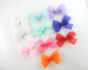 NEW Hair Bows, Girls Hair Bows, Baby 3 Inch Hair Bow, Sheer Hair Bow, pink white purple red mint aqua orange white glitter hair bows, cute