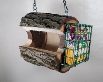Hanging Wood Bird Feeder, Combo Seed & Suet Feeder, Cool Bird Feeders ,Black Walnut Bird Feeder, Natural Log Bird Feeder, Rustic Bird Feeder