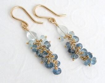 Aquamarine earrings, goldfilled gilded, ombre, gradient, Santa Maria Aquamarine