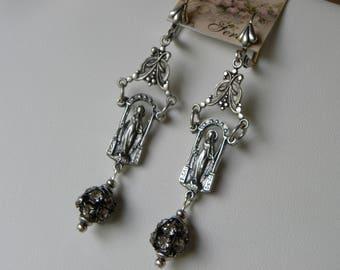 Virgin Mary Religious Earrings Catholic Earrings Long Silver Asemblage Tudor Rhinestone Rosary Medal Earrings, Saint Earrings, ©2018DJameson